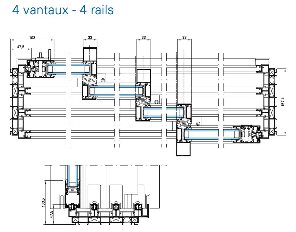 les coulissants de 3 et 4 rails technal | technal menuiserie alu