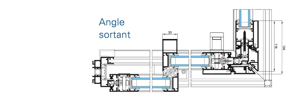 Coulissant d 39 angle aluminium technal technal menuiserie for Fenetre d angle